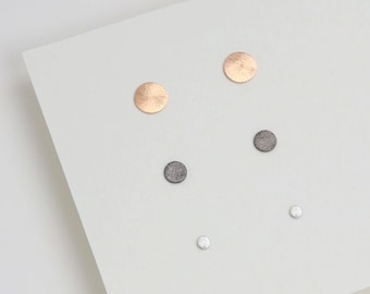 Flat Circle Stud, Dainty Stud, Gold Stud, Rose Gold Stud Earrings, Black Stud, Dainty Stud, Simple Minimalist Jewelry, Silver Jewelry, Gift