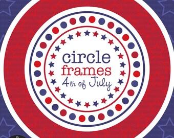 Circle Frames - Fourth of July - Digital Clip Art