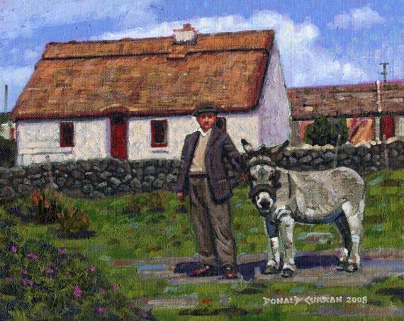 Color Print Of Oil Painting Farmer Cottage Irish Scene 176