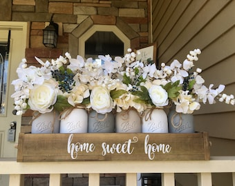 mason jar centerpiece, grey mason jar decor, rustic  centerpiece, spring centerpiece, farmhouse decorations, mason jar farmhouse decor
