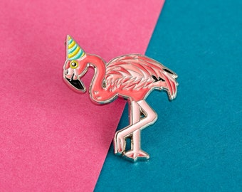 Flamingo Enamel Pin Badge - Birds in Hats Flamingo in a Party Hat Pin Badge, Lapel Badge, Hat Pin