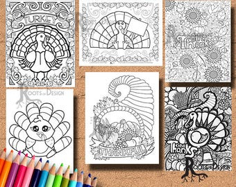 INSTANT DOWNLOAD Thanksgiving Bundle Coloring pages Coloring Page Print, doodle art, printable