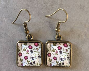 Flowers - Square bronze earrings cabochon glass 15x15mm