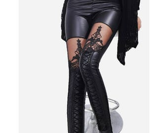 Black Goth Leather Stitching Embroidery Hollow Lace Legging