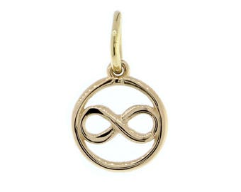 Mini Infinity and Circle Charm in 14K Yellow Gold