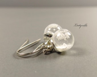 925 Sterling Silver Earrings - Snow ball with snow and water