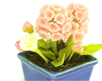 Miniature Polymer Clay Flowers Pink Hyacinth in ceramic pot