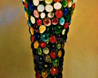 Candle Cone - Large Handcrafted Stained Glass Hanging Mosaic Candle Lamp
