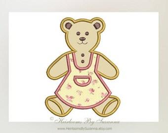Girl Teddy Applique Design - Machine Applique - Machine Embroidery - Nursery Applique - 4 Sizes - Teddy Bear Applique - Girl - 4x4 - 5x7