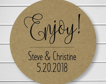 Enjoy Kraft Stickers, Wedding Stickers, Personalized Wedding Stickers, Enjoy Labels in Your Wedding Colors (#200-KR)