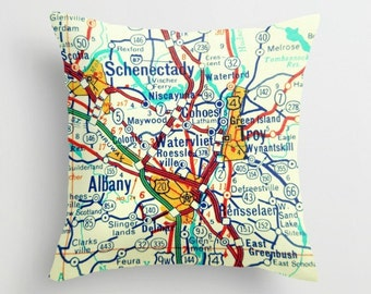 New York Pillow Cover, New York Gift, Husband Birthday Gift, Schenectady Troy Albany, Husband Gift Map Pillow Custom Throw Pillow Map Pillow