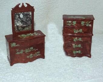 Vintage Renwal Dollhouse Miniature Victorian Furniture Dresser w/Mirror, Chest on Chest