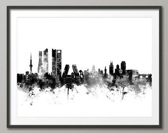 Madrid Skyline, Madrid Spain Cityscape Art Print (2358)