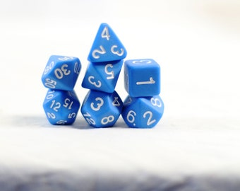 Perfect Plastic Dice Prototype Finish- Single Polish with Ink! - Blue / White Ink