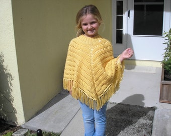 Knitted Poncho, Girls Large - Sunshine Yellow