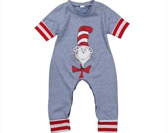 New summer 2018 baby boy sleepwear , romper or jumpsuit cat in the hat