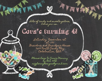 Candy Birthday Invitation, Sweet Shoppe Invitation, Candy Invitation, Chalkboard Invitation, Candy Theme Party Invite, Printable Invitations