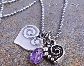 Amethyst & Spiral Double Heart Charm Necklace, Stainless Steel Ball Chain, February Birthstone, Purple Gemstone Leaf