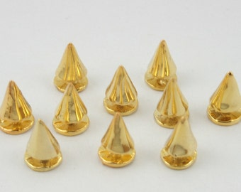 10 pcs Zinc Gold Cone Studs Leather Craft Decorations Findings 7 mm. DG7