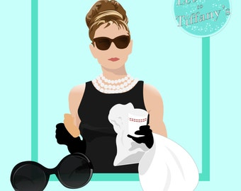 Breakfast at Tiffany's Holly Golightly Clipart - Transparent PNG - Instant Download