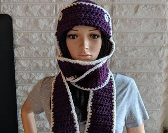 Clearance women's hooded scarf, aviator hat with scarf, purple hooded scarf, accessories, gifts for her, fall, winter, spring fashion