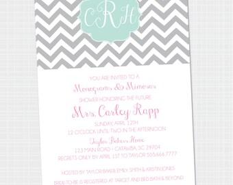 Monogram & Mimosas Invitations | Bridal Shower | Wedding Shower Brunch | Bridal Shower Invitations {Digital File} Printable