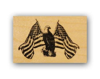 Patriotic Eagle mounted rubber stamp, USA PROUD, USAF, military, support our troops, Army, Marines, marine, Navy, Crazy Mountain Stamps #4