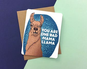 Mama Llama Mothers Day card | Happy Birthday Momma Llama card | Got It From My Mama | Silly mothers day card | Funny card for Mama Llama