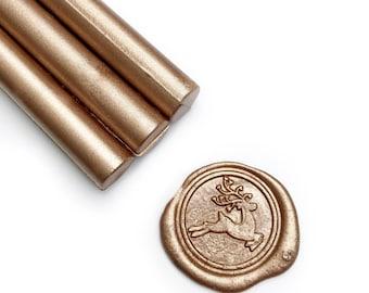 Metallic Champagne Gold Glue Gun Sealing Wax Sticks, Pack of 8