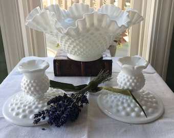 Fenton White Milk Glass Hobnail Centerpiece Bowl and Candleholder Set Wedding Decor Fenton hobnail set Fenton  Vase