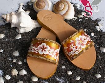 Leather Slippers, Leather Slide Sandals, Bridal Flat Sandals, Rhinestone Sandals, Single Strap Sandals, Handpainted Shoes
