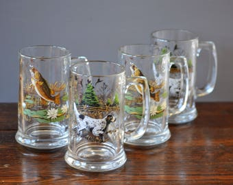 Four (4) Glass Beer Mugs / Large Mouth Bass & On Point English Setter Hunting Dog