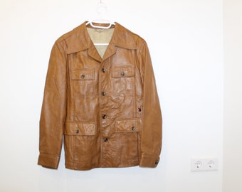 Brown Leather JACKET Coat Biker Moto Flight Aviator Outerwear Leather Brown Caramel Brown BlazerTrench Fitted Jacket Small to Medium Size