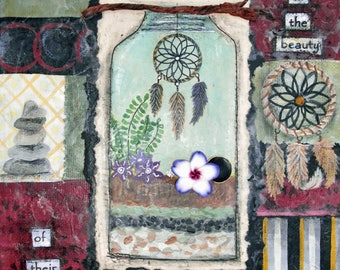 BEAUTY of DREAMS, Dream Catcher, Stacked Rocks, Dream, Positive Art, Decor, Wall Art, Mixed Media, Print, Large Print, Alicia Hayes Art