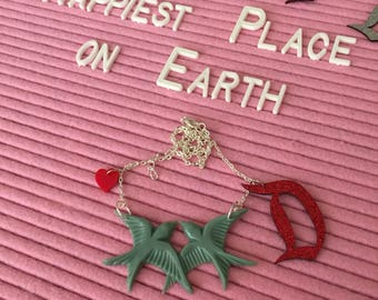 Vintage Green, Disney-inspired, Swallows Kissing, Red Heart & Red Glitter 'D' Statement Necklace