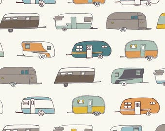 Fat Quarter Camper Rally Organic Cotton Birch Fabrics Camping Fabric Camp Sur 3 Collection Jay-Cyn Designs Quilt Fabric Camper Fabric