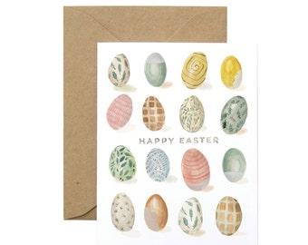 Patterned Easter Eggs Greeting Card - Illustrated Spring, Celebration, Easter Card