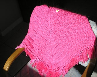 Knitted Poncho, Girls Large - Bright Pink