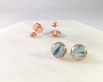 White Teal x Rose Gold Stud Earrings
