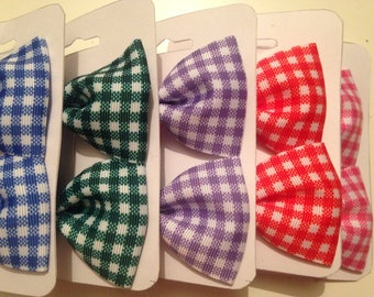 Gingham Hair Bows - school/gingham/green/blue/pink/lilac