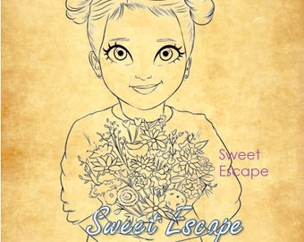 Little Girl Digital Stamp