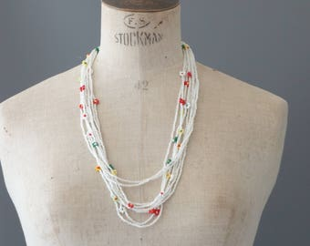 Floral seed bead necklace | 1990's by cubevintage