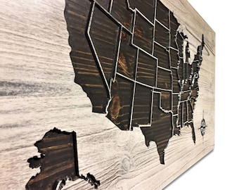 Luxury Home Wall Decor, Wooden US Map, Push Pin Map, Rustic Wall Art, Map Home Decor, Wood Wall Art, Map of United States, 3D Map, Carved