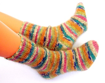 Hand Knitted Yellow Blue Pink Socks Warm Socks from Sock Yarn with Kid Mohair Sleeping Socks Mohair Socks Women's Socks Girl's Winter Socks