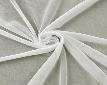 Ivory Chiffon Matte Jersey Stretch Chiffon Fabric, Drape Chiffon Jersey Fabric, Light Jersey Chiffon Fabrics, Stretch Chiffon - Style 452