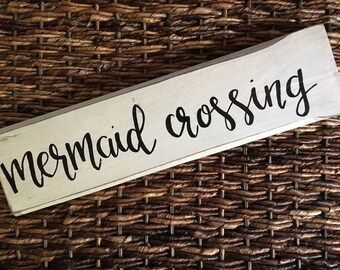 Mermid crossing sign, mermaid bedroom decor, mermaid bathroom decor, rustic sign