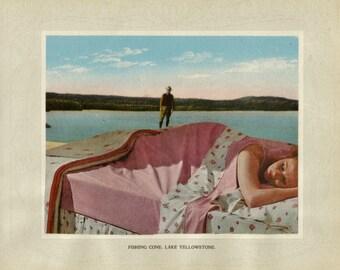 Original Collage Art, Surreal Dream Landscape, Dreamy Artwork