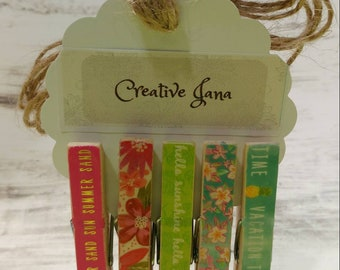 Summer Fun Clothespins with twine, set of 5
