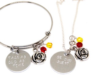 Beauty and the Beast Rose Bangle or Necklace