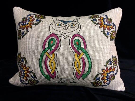 linen owl pillow, modern owl design pillow , block printed linen pillow case , sofa cushion, cushion cover,case dresses, linen throw